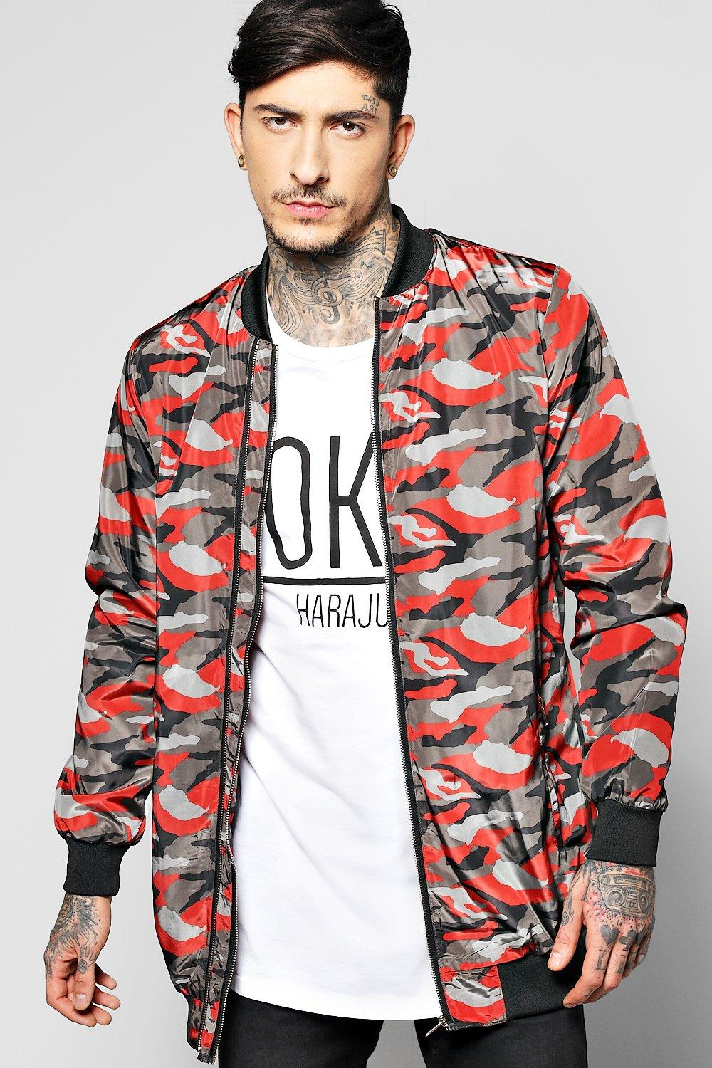 Image of All Over Camo Multi Zip Jacket - red