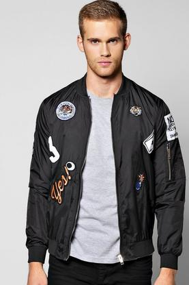 Multi Badged MA1 Nylon Bomber