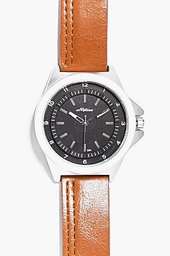 Smart Watch With Silver Metal Facing & Tan Strap