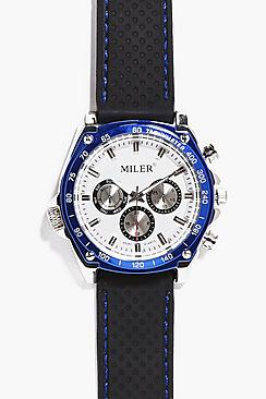 Blue Metallic Faced Watch With Black Straps