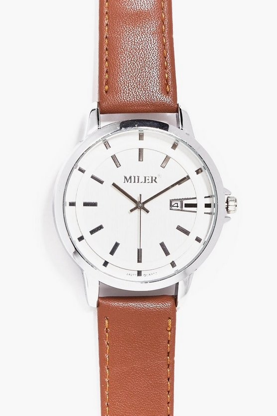 Smart & Clean Faced Classic Watch With Tan Straps