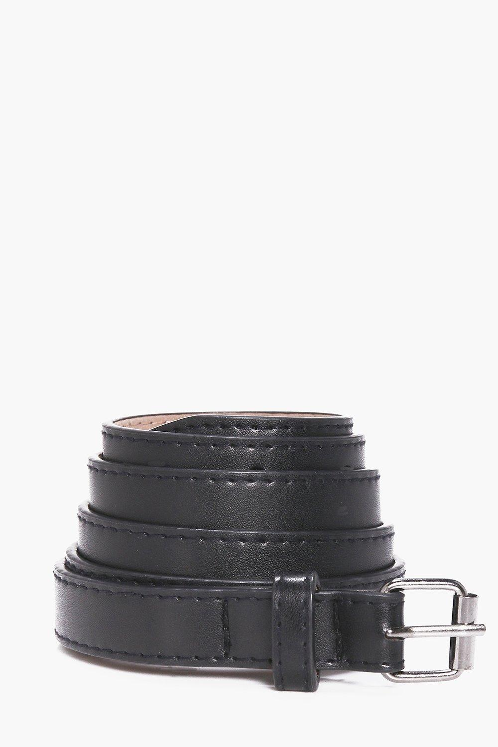 Leather Skinny Belt - black - Faux Leather Skinny