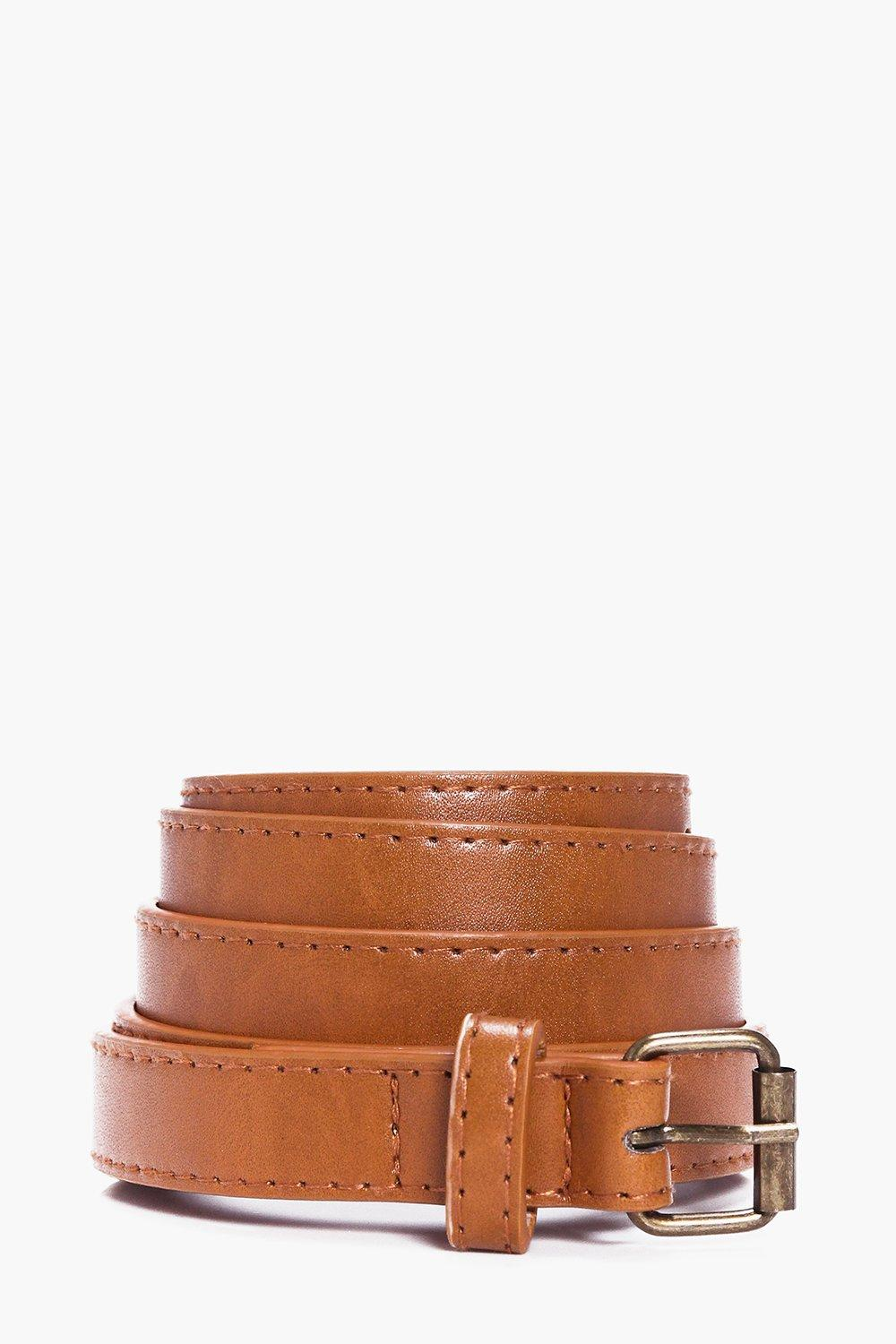 Leather Skinny Belt - tan - Faux Leather Skinny Be
