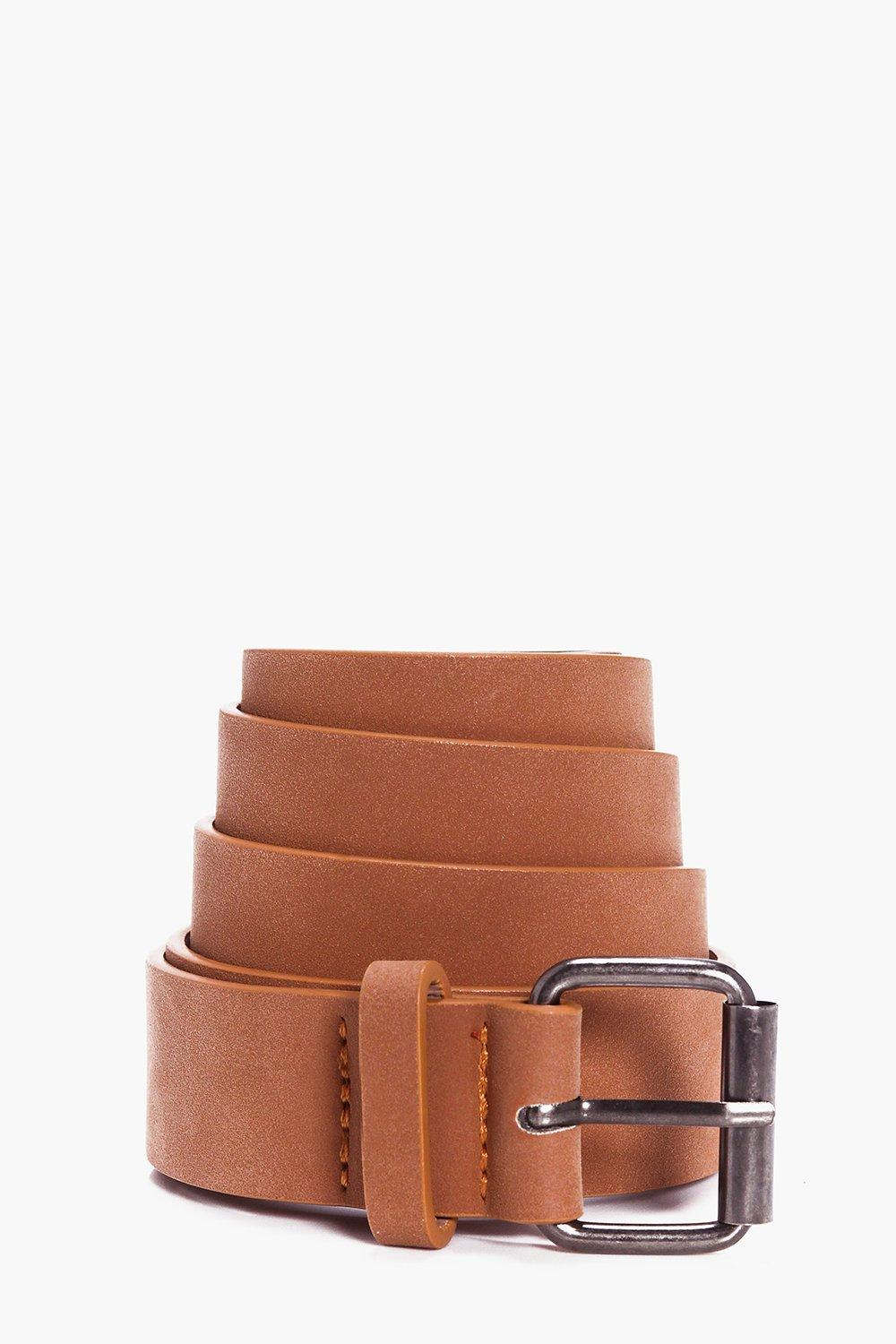 Leather Belt With Metal Buckle - dark brown - Faux