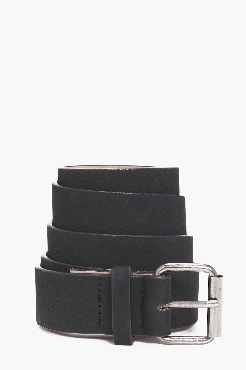 Leather Belt With Metal Buckle - black - Faux Leat