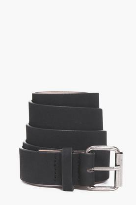 Faux Leather Belt With Metal Buckle