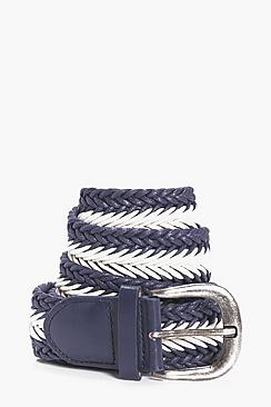 Woven Lattice Belt With Metal Buckle
