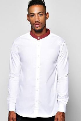 PU Trim Grandad Collar Shirt With Burgundy Trim