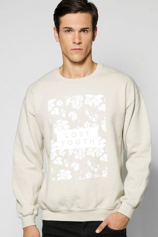 Lost Youth Floral Crew Neck Sweatshirt