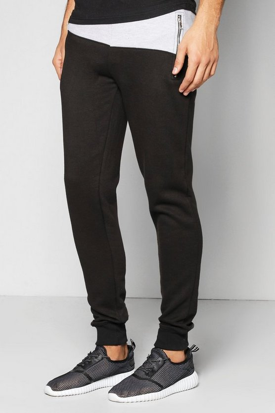 Spliced Joggers With Zip Pockets