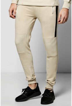 Skinny Fit Biker Rib Joggers With Zip Pockets