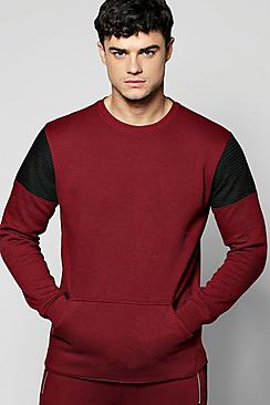 Colour Block Sweater With Biker Detail