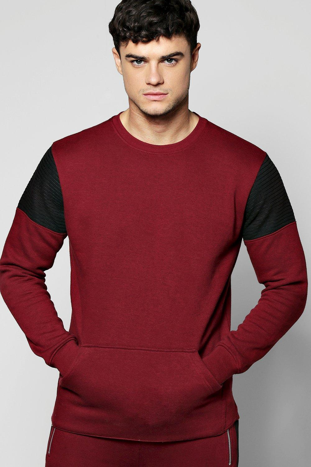 Colour Block Sweatshirt With Biker Detail
