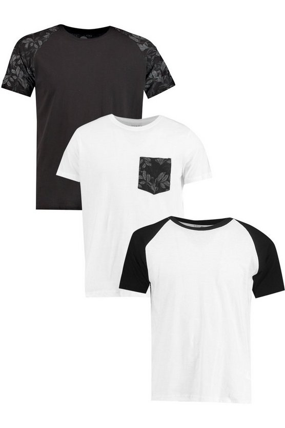 3 Pack Printed T Shirt Pack