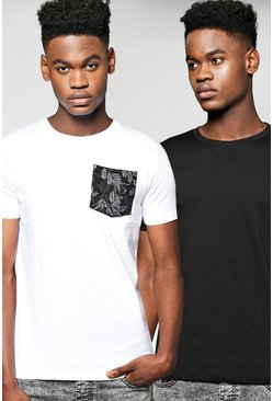 2 Pack T Shirt With Pocket & Plain