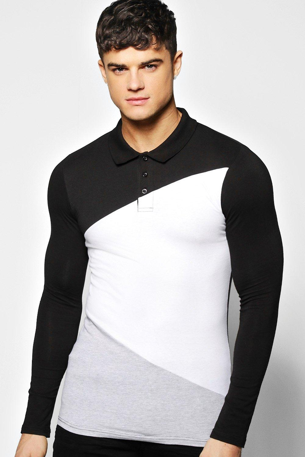 Long Sleeved Muscle Fit Spliced Polo