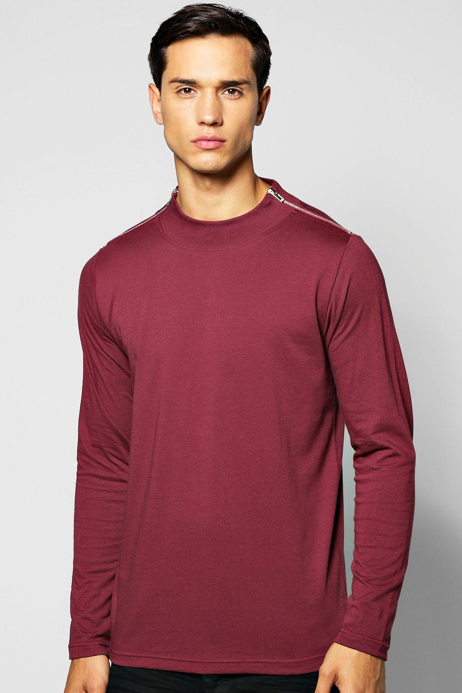 Sleeve Turtle Neck T Shirt with Zip Neck  burgundy