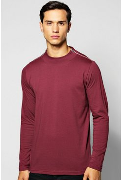 Long Sleeve Turtle Neck T Shirt with Zip Neck