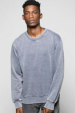 Denim Wash Crew Neck Sweater