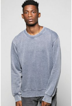 Denim Wash Crew Neck Sweatshirt