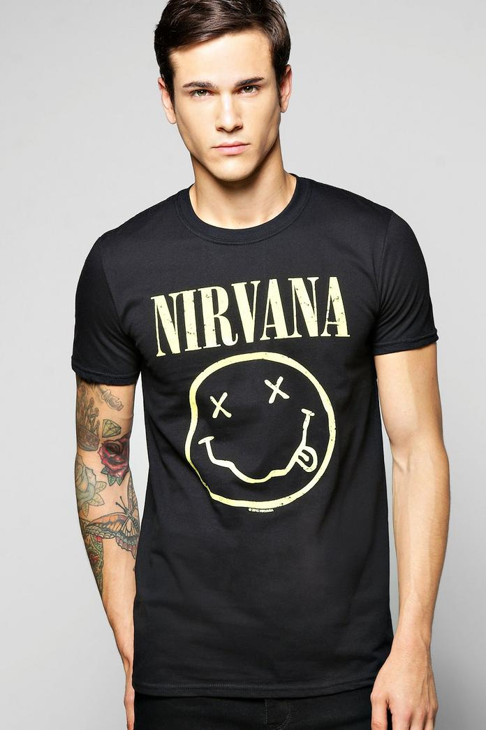 nirvana license print t shirt boohoo. Black Bedroom Furniture Sets. Home Design Ideas