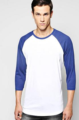 Raglan T Shirt with Scoop Hem and 3/4 Sleeve