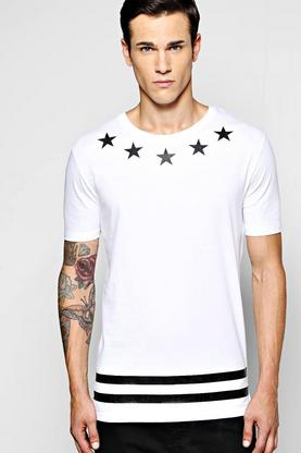 Longline Stars and Stripes Print T Shirt