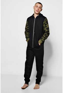Hooded Onesie With Camo Sleeve
