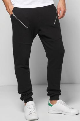 Skinny Fit Pique Jogger With Slanted Zip