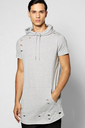 Hooded Destoyed T-Shirt