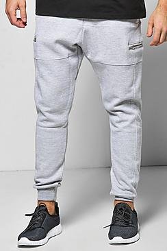 Skinny Fit Waffle Joggers with Zip Pockets and Panels