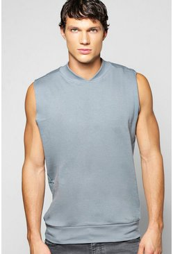 Bomber Neck Sleeveless Sweatshirt