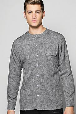 Long Sleeve Utility Pocket Grandad Shirt