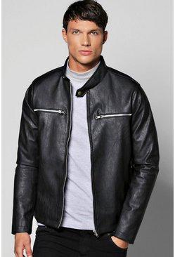Collarless PU Biker Jacket