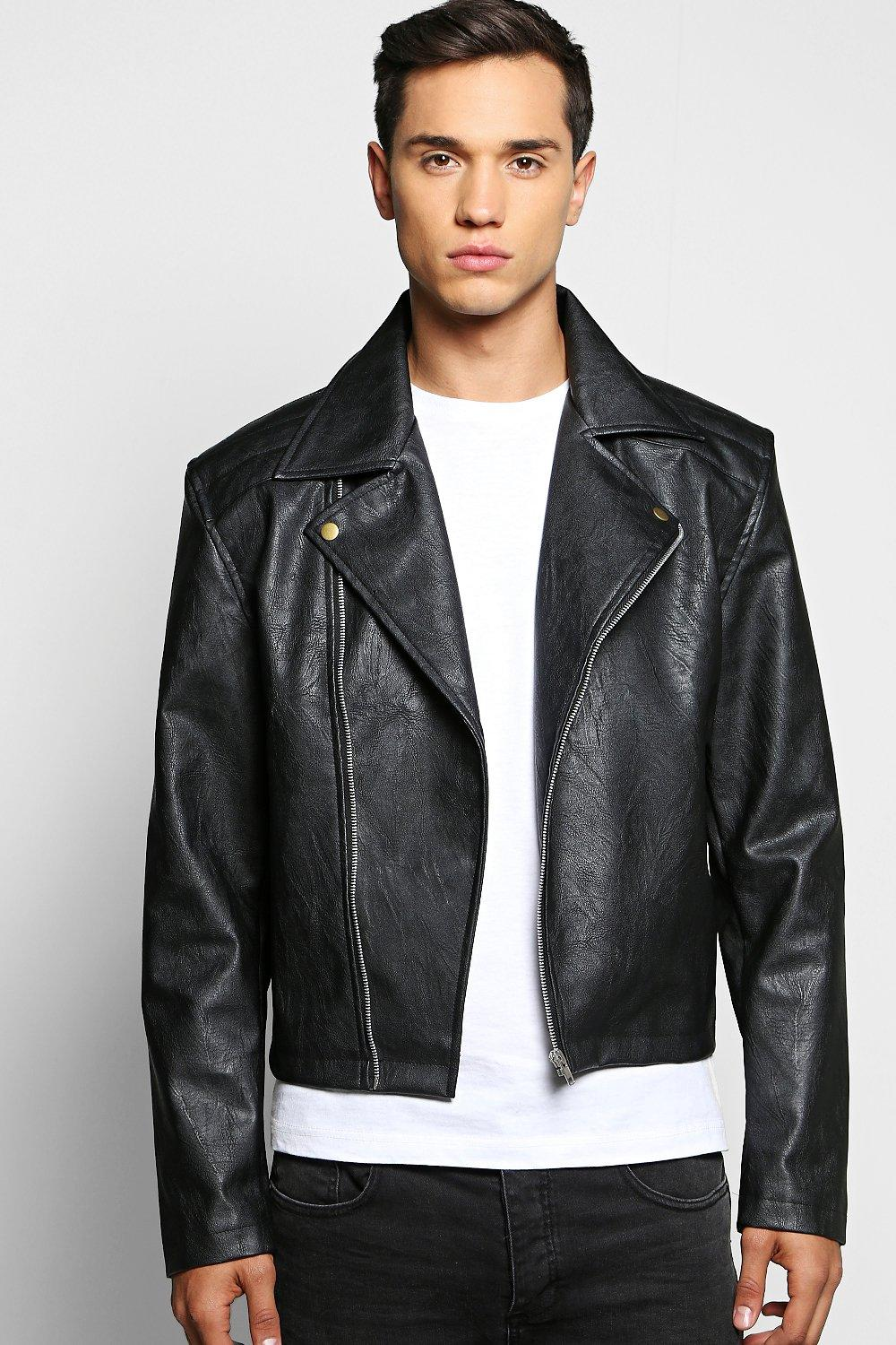 PU Biker Jacket With Quilted Yoke