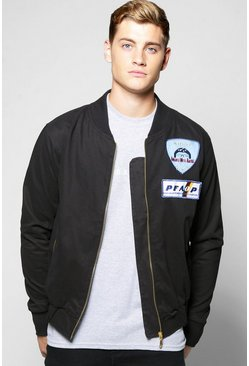 Badged Cotton Twill Zipped Lined Bomber