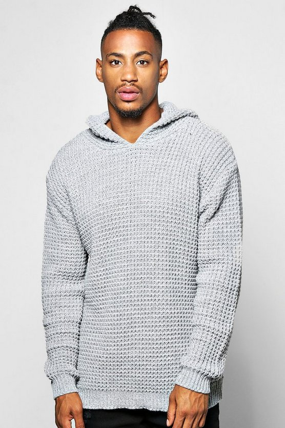 Grey Waffle Stitch Knitted Hoodie