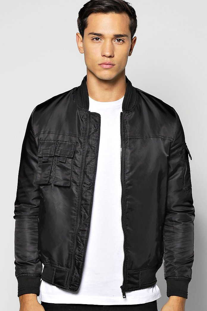Multi Pocket Zip Through Nylon Bomber Jacket