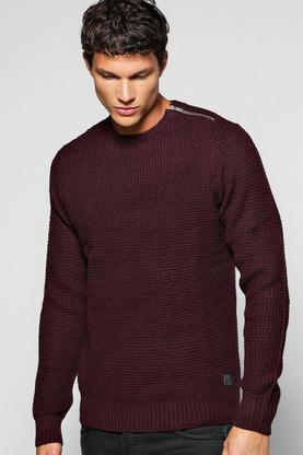 Fisherman Rib Sweater With Shoulder Zip