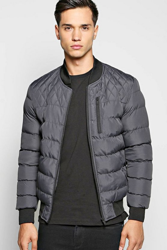 All Over Quilted Bomber Jacket With Chest Zip