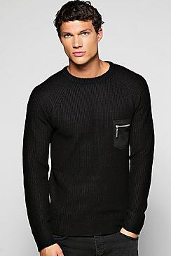Fisherman Rib Sweater With Patch Pocket And Zip
