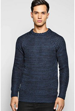 Heavy Knit Mixed Colour Crew Neck Jumper