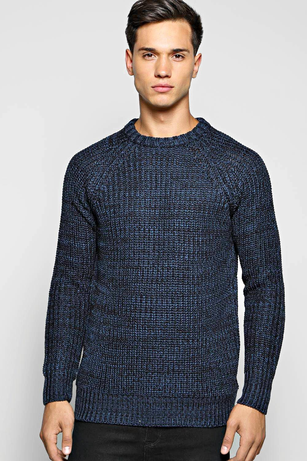 Heavy Knit Mixed Colour Crew Neck Sweater