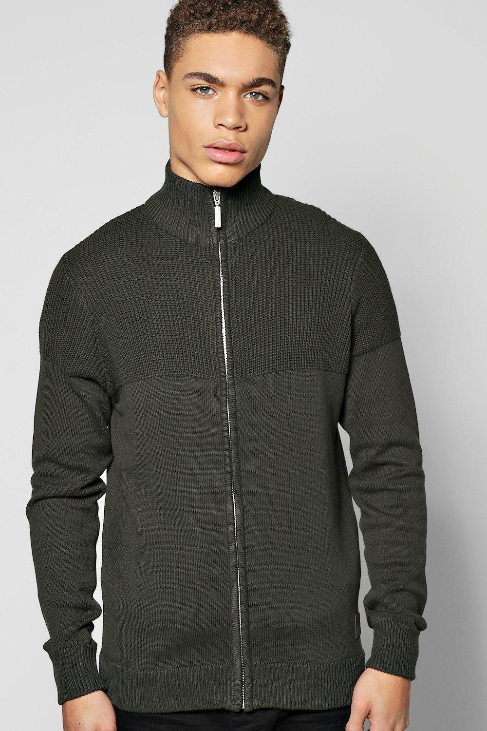 Zip Through Knitted Bomber With Funnel Neck