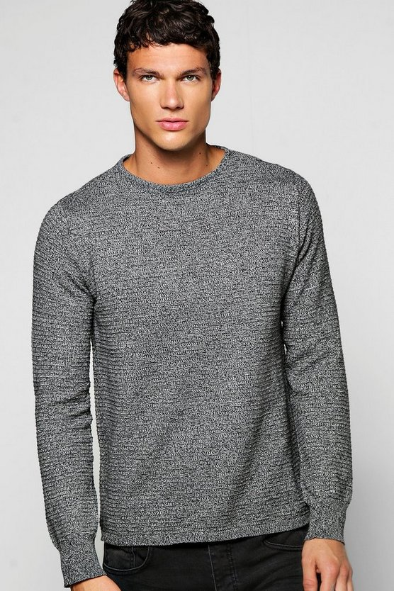 Mixed Yarn Crew Neck Jumper