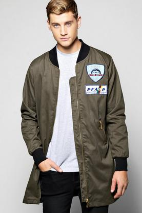 Longline Badged Cotton Twill Zipped Lined Bomber