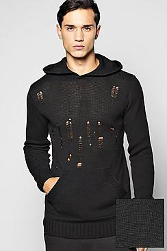 Destroyed Knitted Hoodie