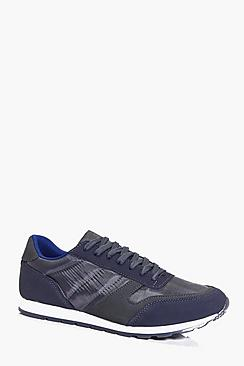 Panelled Lace Up Trainers With Quilting