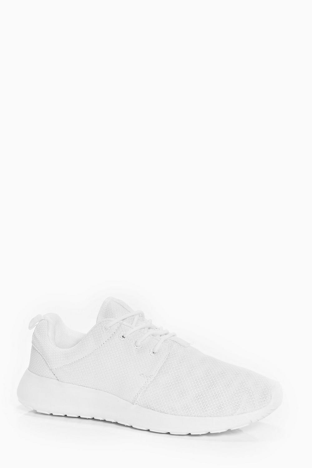 White Lace Up Running Trainers