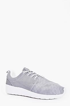 Grey Lace Up Running Trainers